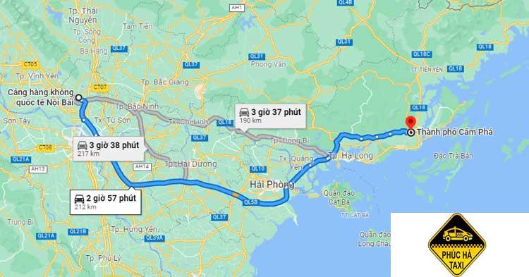 Sân Bay Nội Bài cách Cẩm Phả khoảng 220km